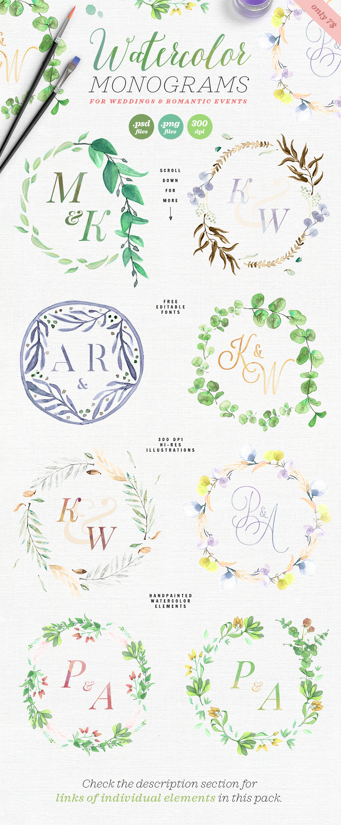 8 Watercolor Wedding Monograms I Graphic Objects By lavie1blonde - Image 2