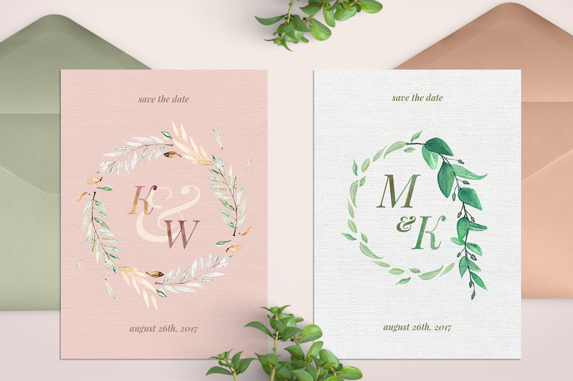 8 Watercolor Wedding Monograms I Graphic Objects By lavie1blonde - Image 4