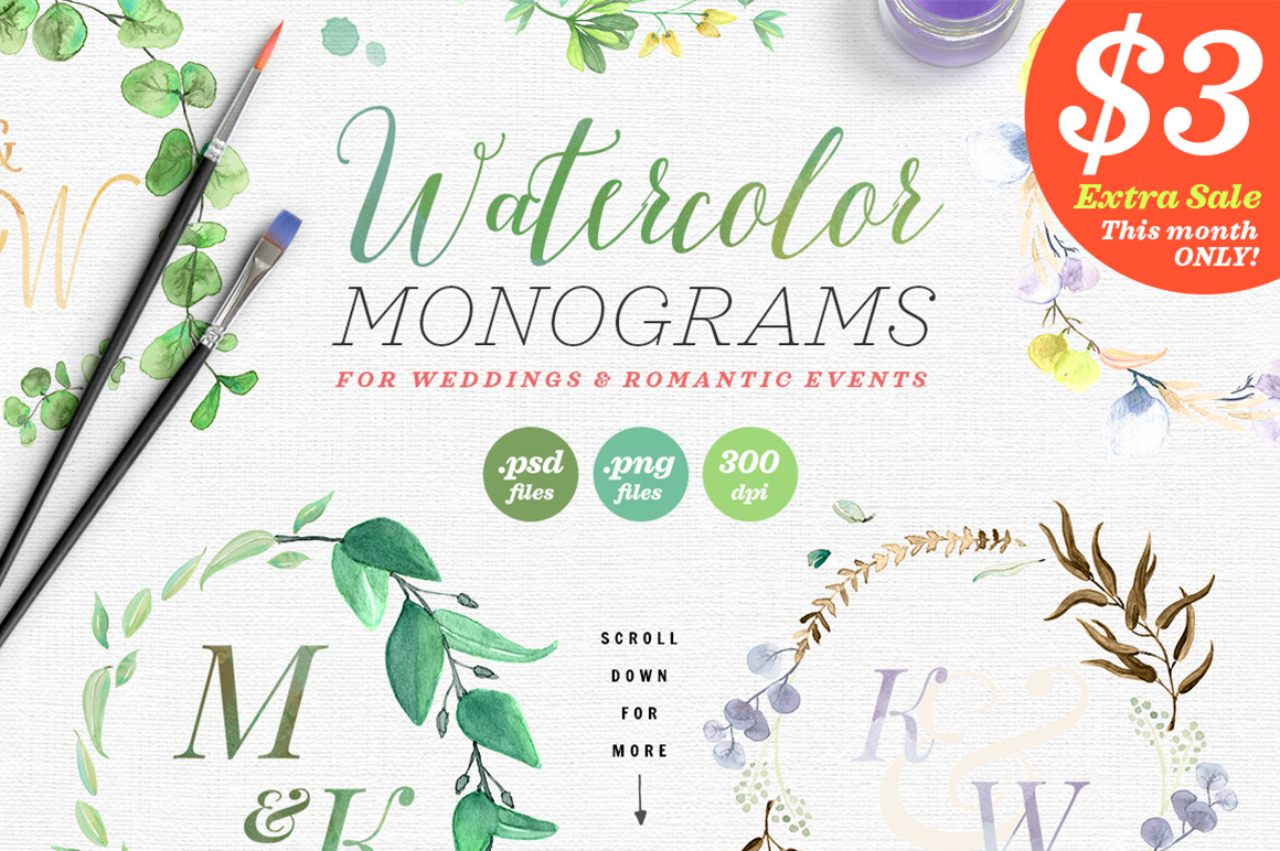 Print on Demand: 8 Watercolor Wedding Monograms I Graphic Objects By lavie1blonde