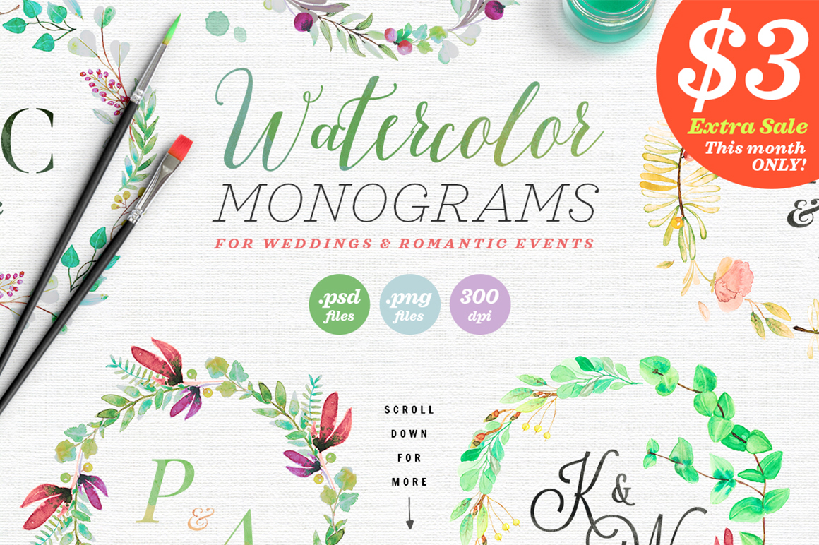 8 Watercolor Wedding Monograms II Graphic Objects By lavie1blonde