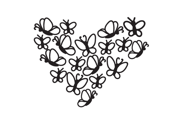 Download Free A Heart Made Out Of Butterflies Svg Cut File By Creative Fabrica for Cricut Explore, Silhouette and other cutting machines.
