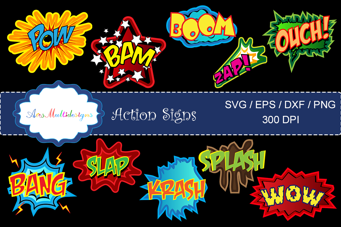 Print on Demand: Action Signs Vector Art Graphic Illustrations By Arcs Multidesigns - Image 1