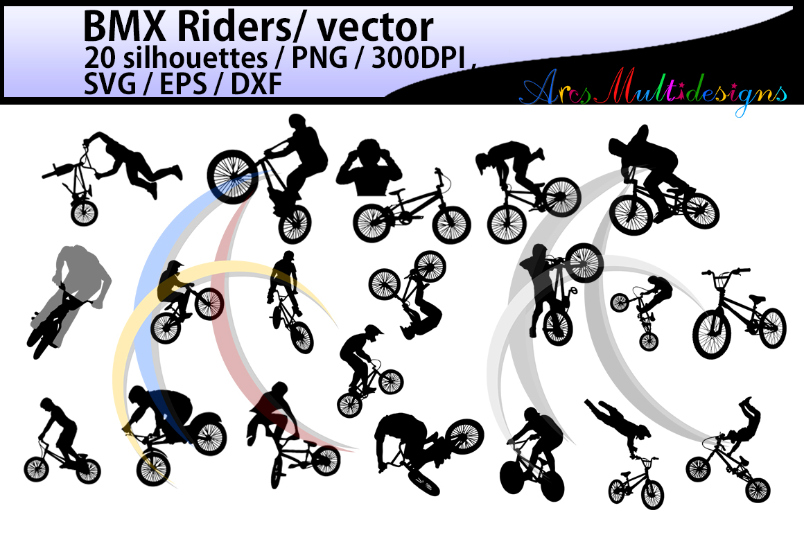Print on Demand: BMX Rider Silhouette Grafik Illustrationen von Arcs Multidesigns