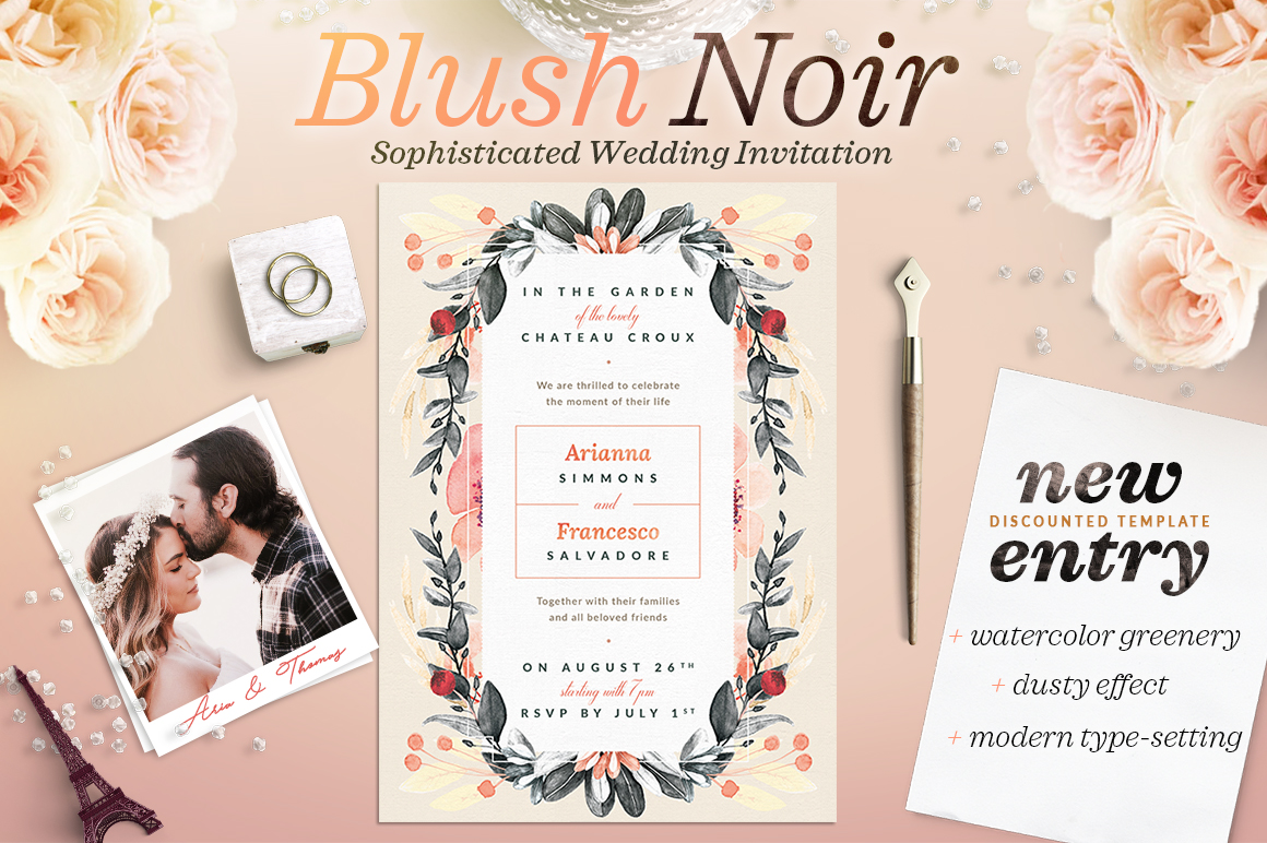 Print on Demand: Blush Copper Wedding Invite II Grafik Druck-Templates von lavie1blonde