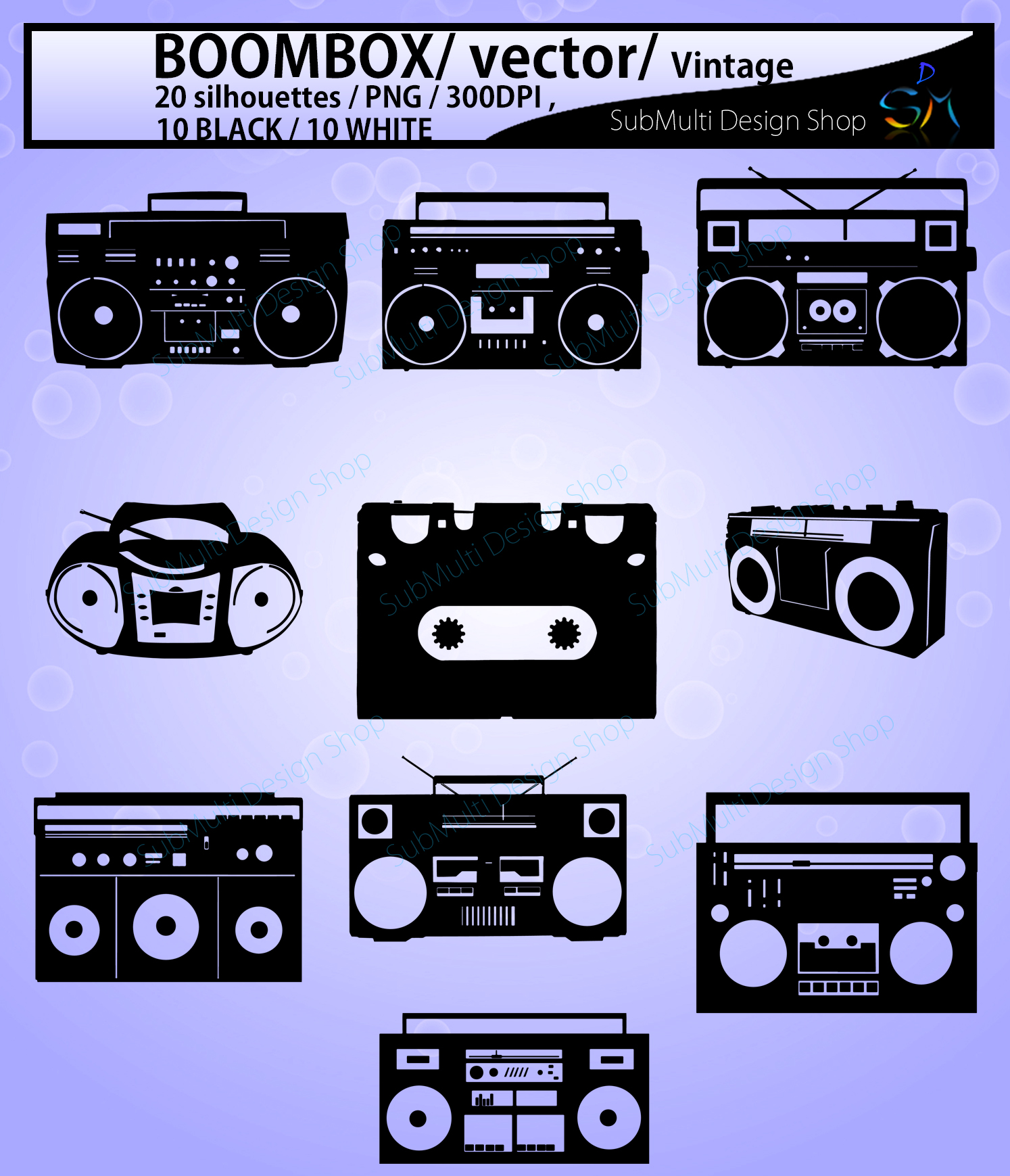 Print on Demand: Boombox Silhouette Graphic Crafts By Arcs Multidesigns - Image 2