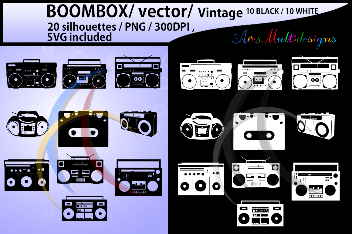 Print on Demand: Boombox Silhouette Graphic Crafts By Arcs Multidesigns