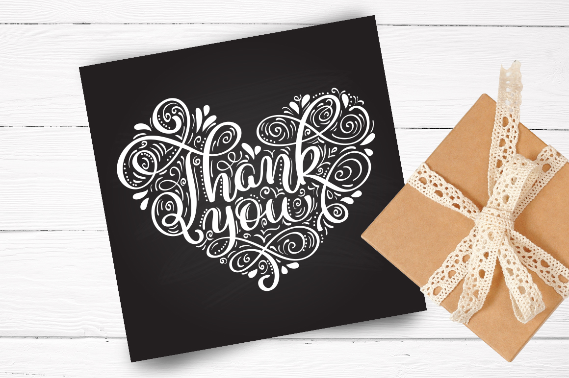 Calligraphy Vintage Phrase Thank You Graphic Illustrations By Happy Letters - Image 2