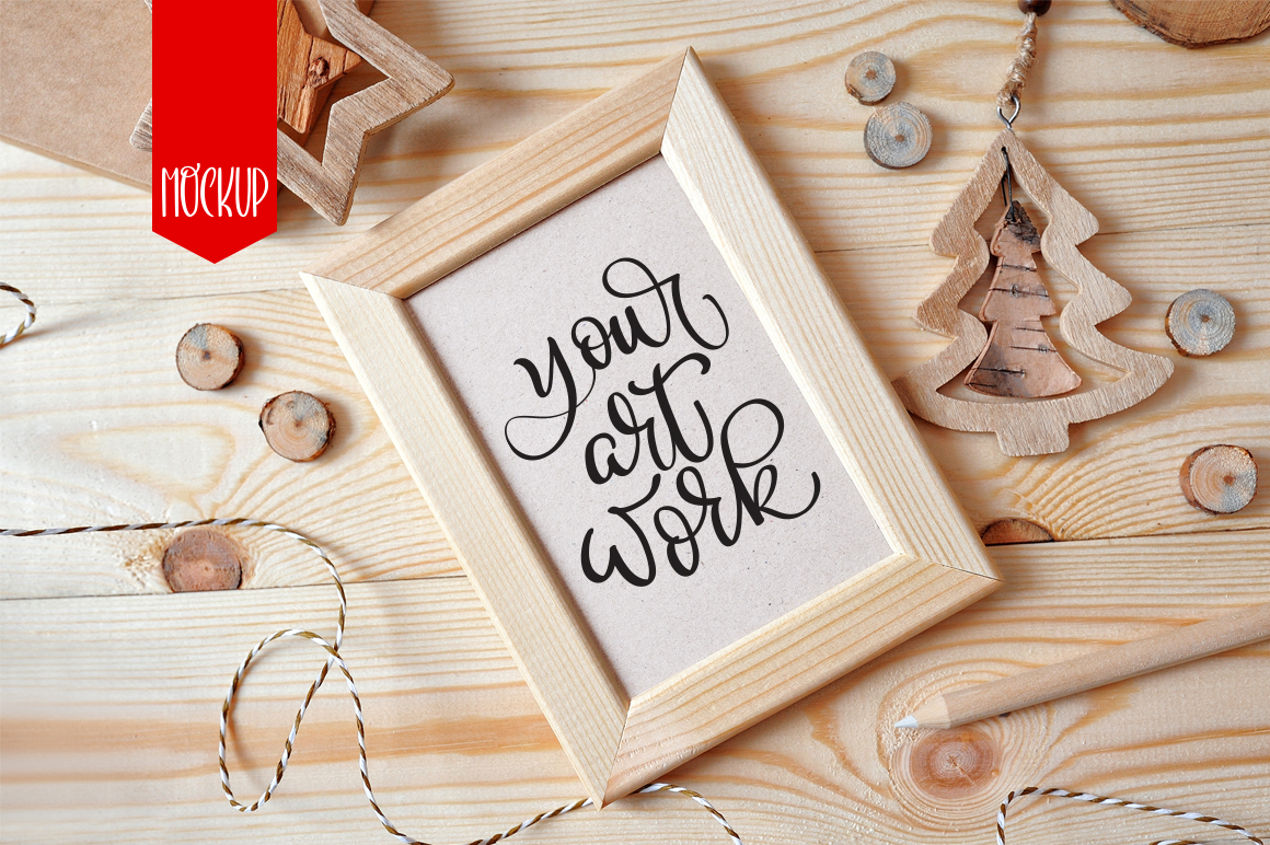 Christmas Wooden Frame Mockup Graphic Product Mockups By Happy Letters - Image 1