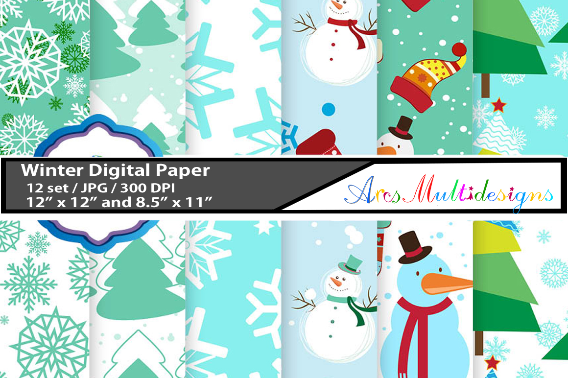 Print on Demand: Christmas and Winter Pattern Set Graphic Patterns By Arcs Multidesigns