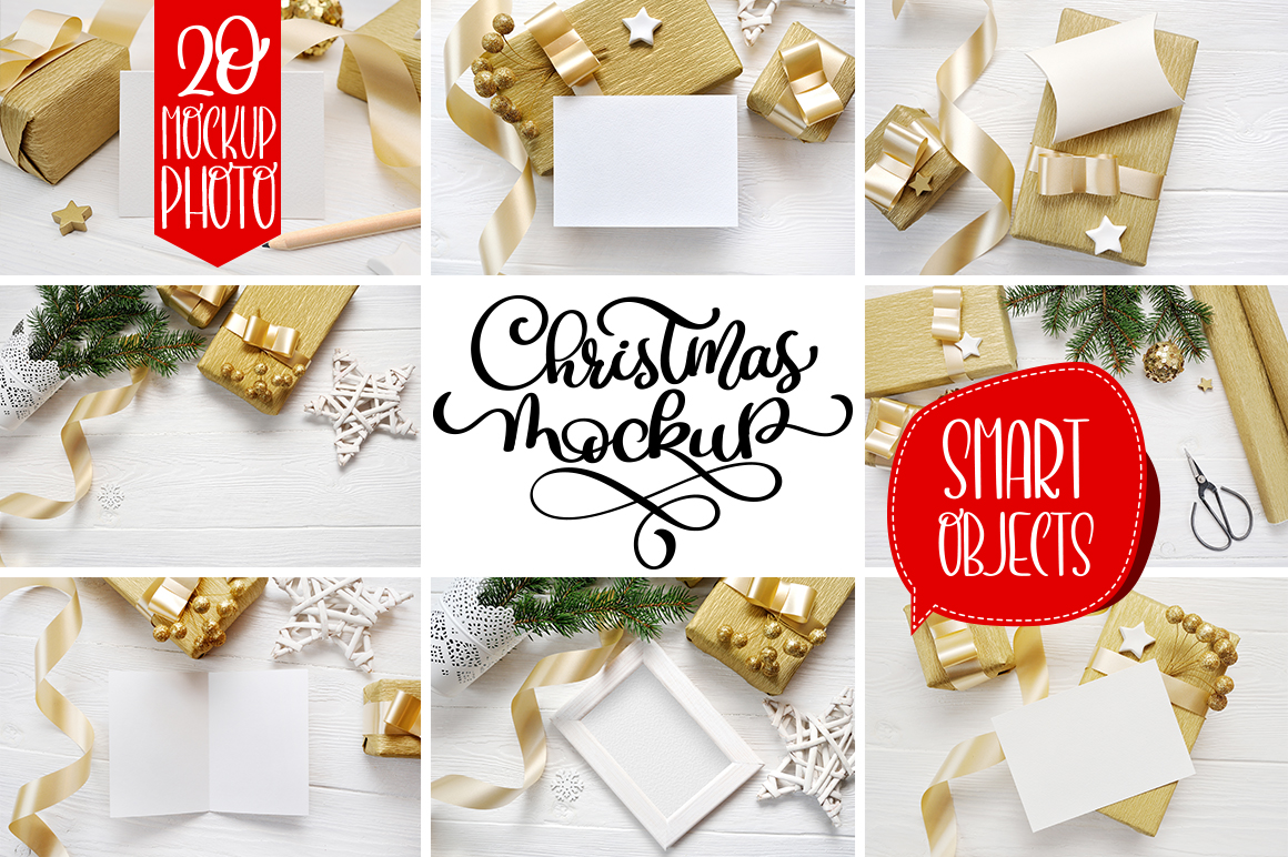 Christmas Background Mock Ups with Smart Object Graphic Product Mockups By Happy Letters