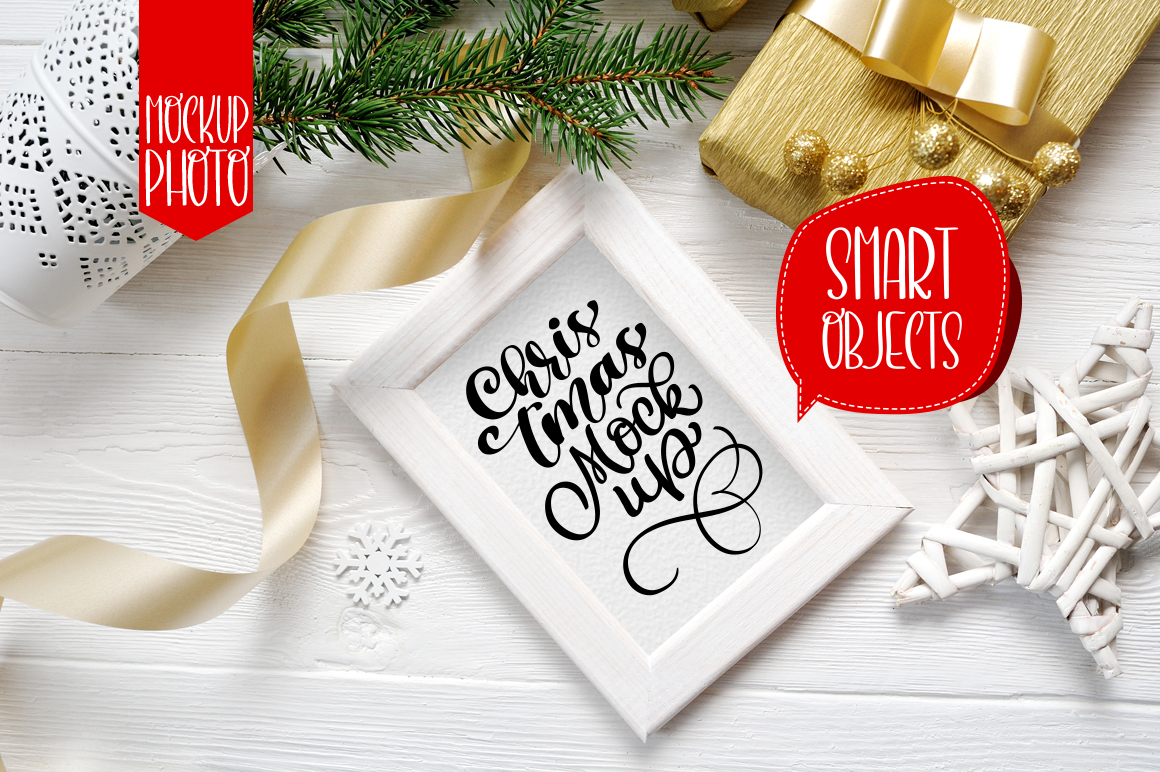 Christmas Wooden Frame with Smart Object Grafik Produktmodelle von Happy Letters