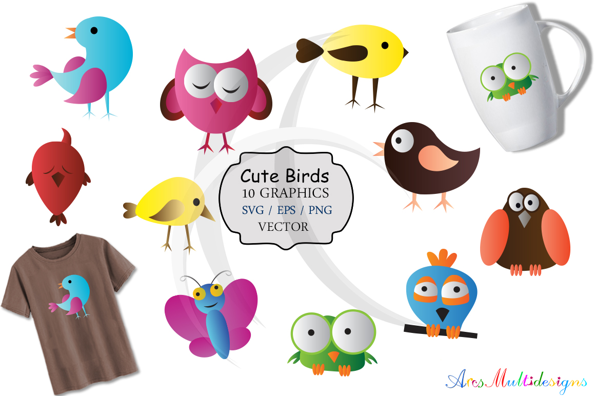 Print on Demand: Cute Birds Graphic Illustrations By Arcs Multidesigns