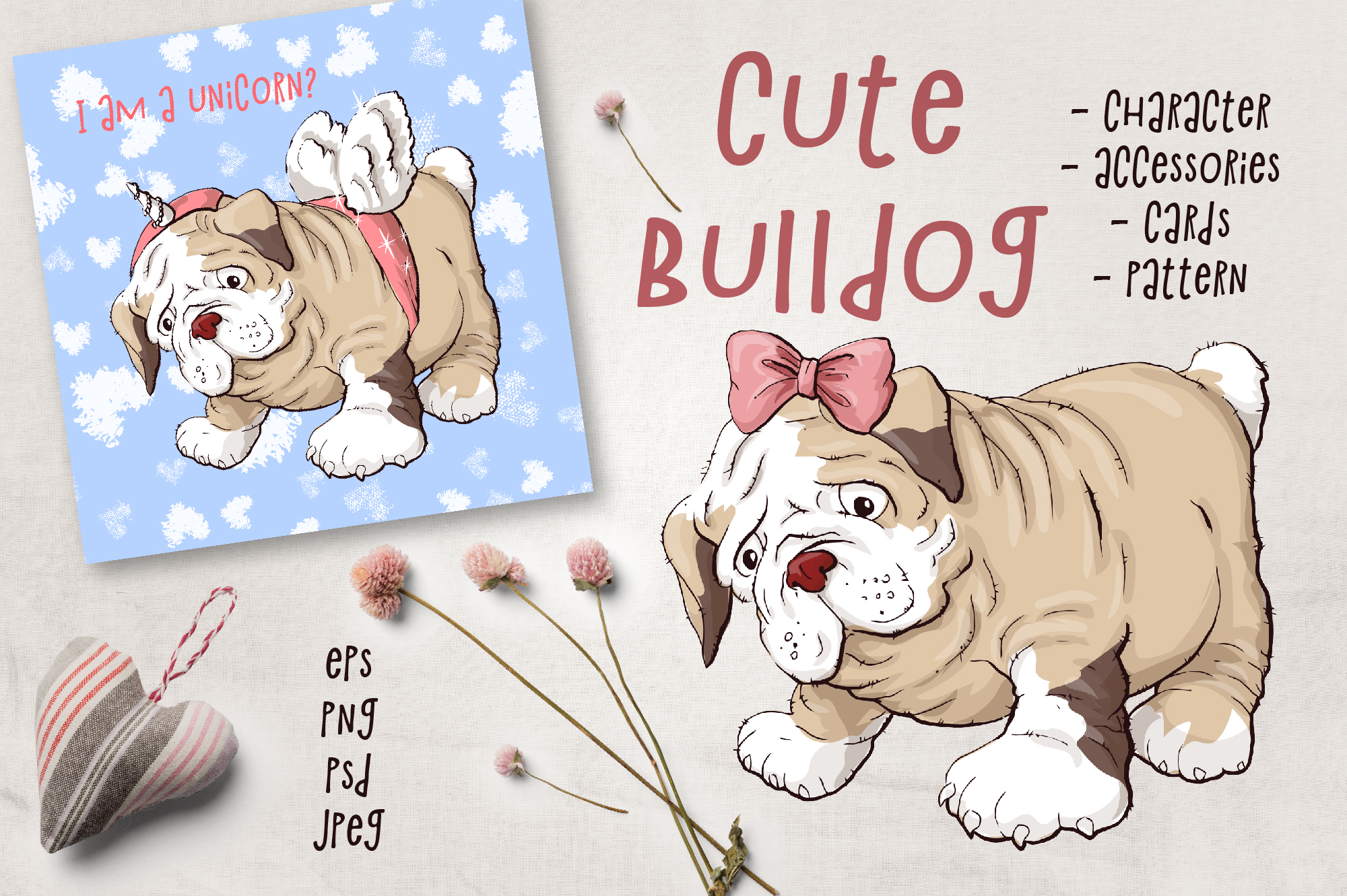 Print on Demand: Cute Bulldog Graphic Illustrations By nicjulia