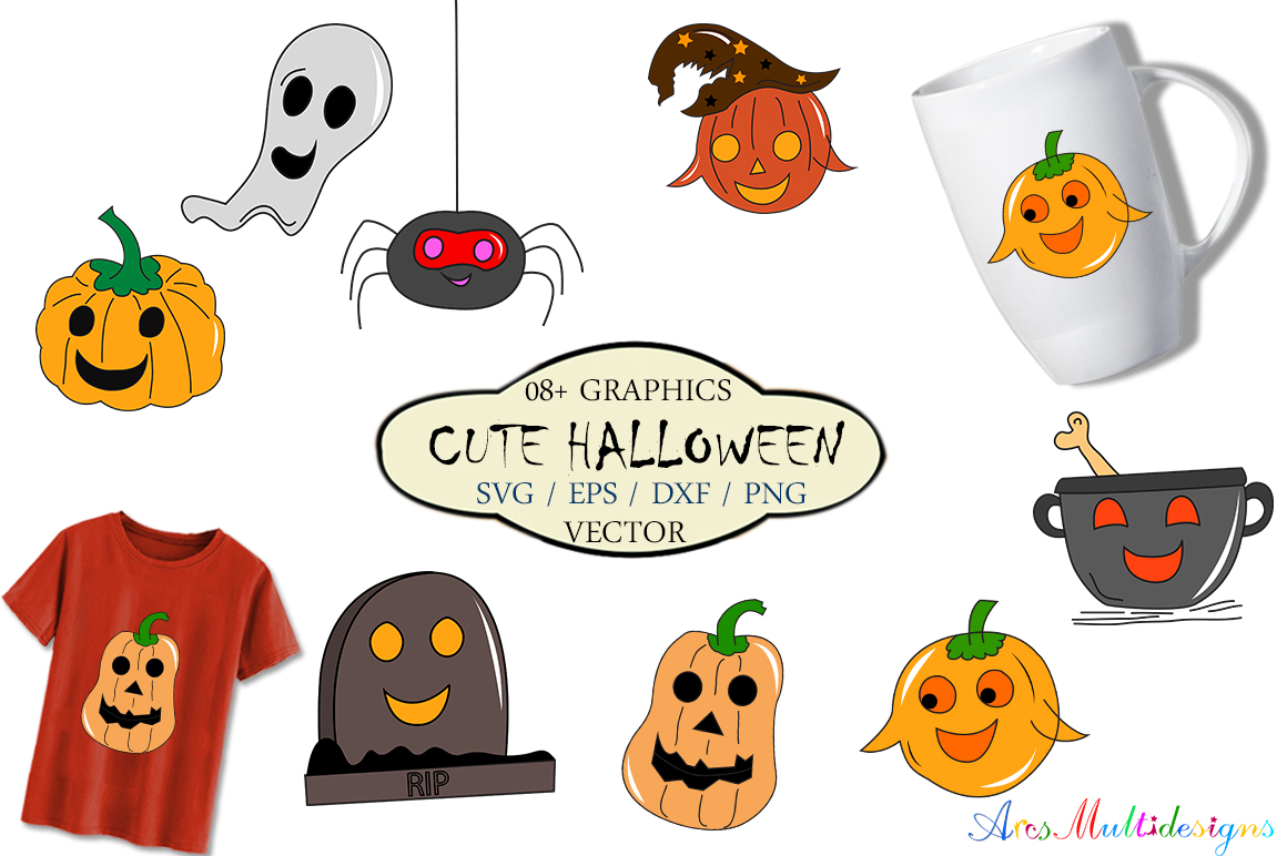 Download Free Cute Halloween Vector Graphics Grafico Por Aparnastjp Creative for Cricut Explore, Silhouette and other cutting machines.