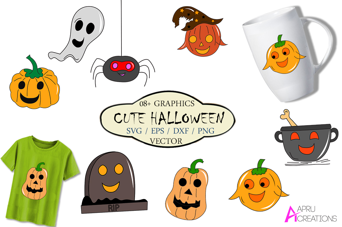 Download Free Cute Halloween Vector Graphics Graphic By Aparnastjp Creative for Cricut Explore, Silhouette and other cutting machines.