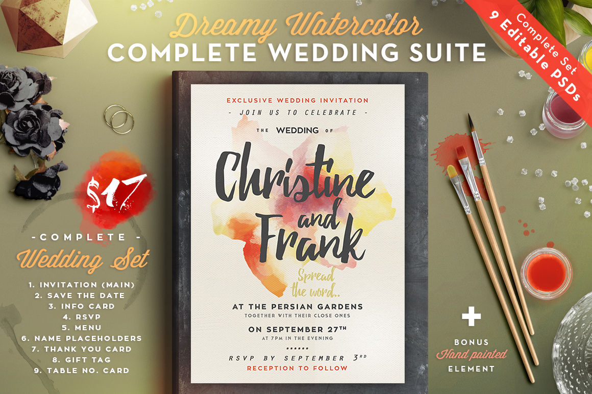Dreamy Watercolor Wedding Suite I Graphic By lavie1blonde