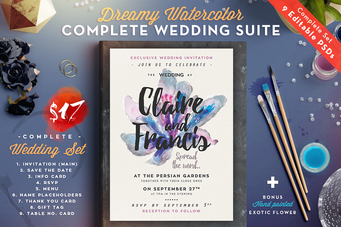 Dreamy Watercolor Wedding Suite II Graphic By lavie1blonde