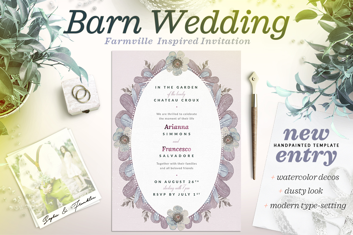 Dusty Wedding at the Barn Card II Graphic By lavie1blonde