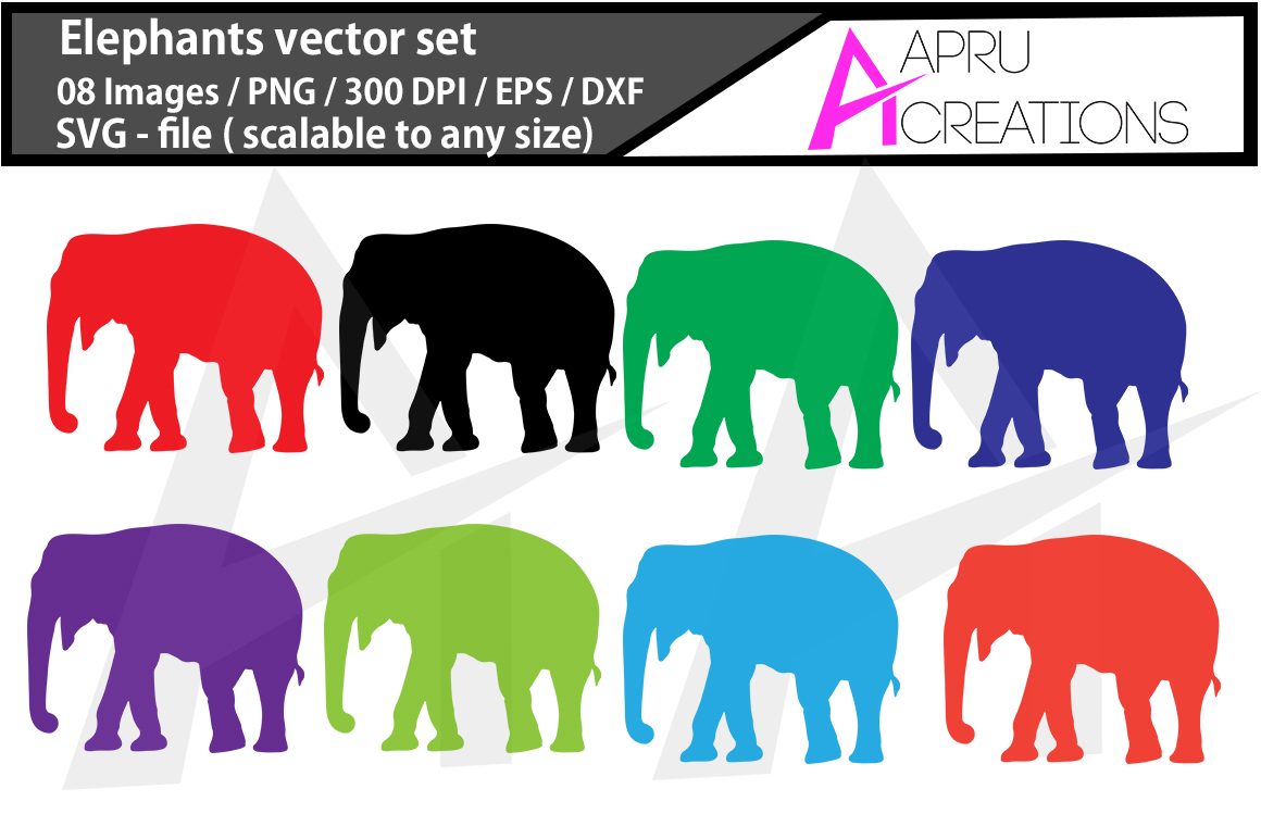 Print on Demand: Elephants Vector Silhouette Graphic Crafts By aparnastjp