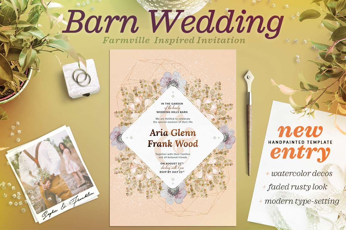 Faded Wedding at the Barn Card III Graphic Print Templates By lavie1blonde