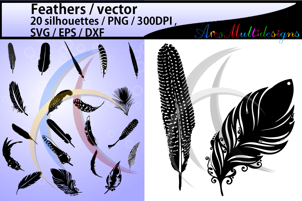 Print on Demand: Feather Silhouette Graphic Crafts By Arcs Multidesigns - Image 1