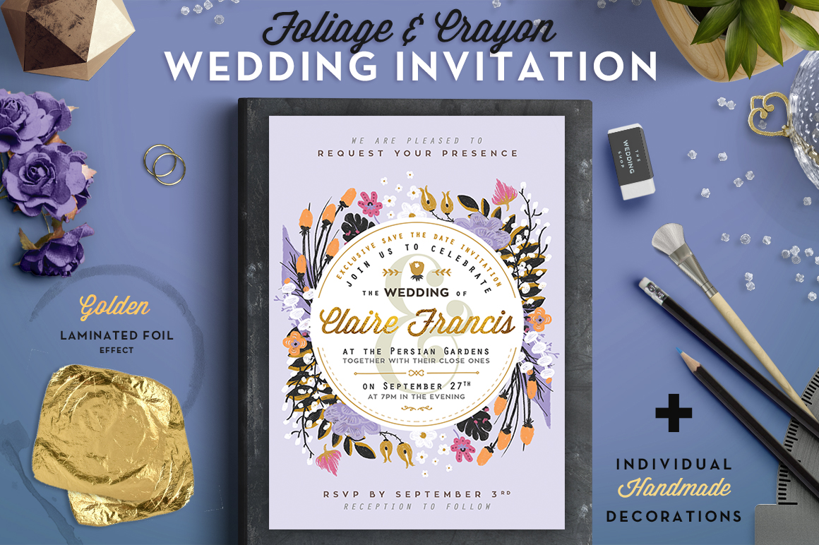 Foil & Crayon Wedding Invite III Graphic By lavie1blonde
