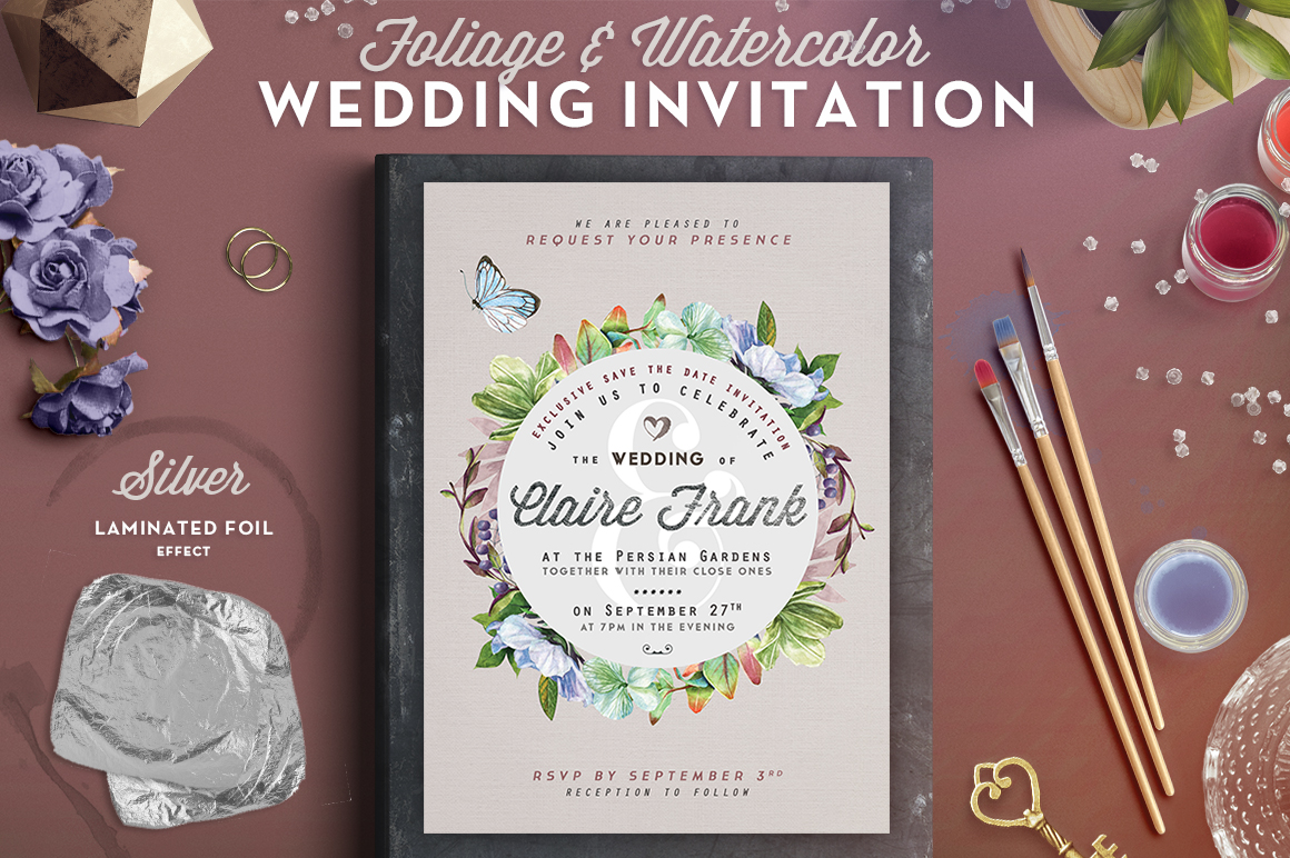 Print on Demand: Foliage & Watercolor Wedding Card III Graphic Print Templates By lavie1blonde