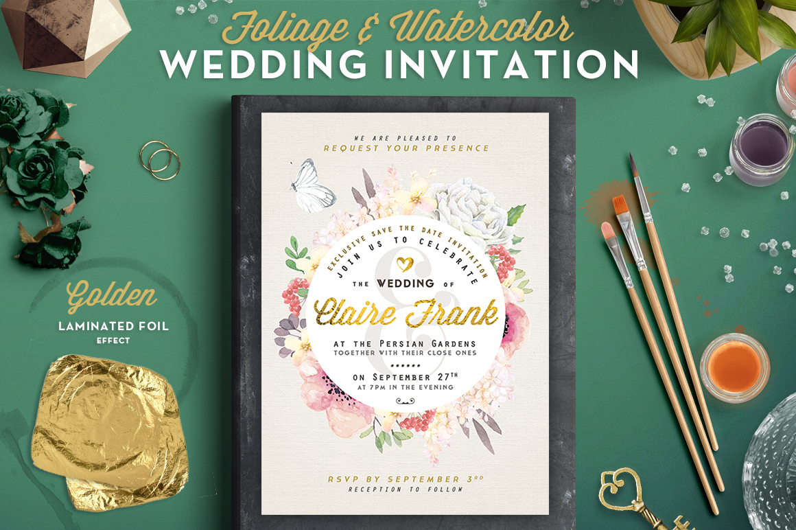 Foliage & Watercolor Wedding Invite II Gráfico Plantillas para Impresión Por lavie1blonde