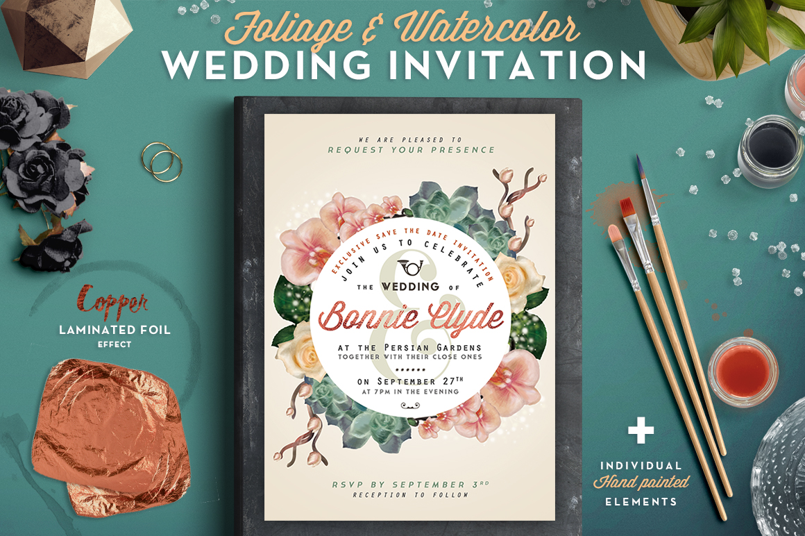 Print on Demand: Foliage & Watercolor Wedding Invite Graphic Print Templates By lavie1blonde