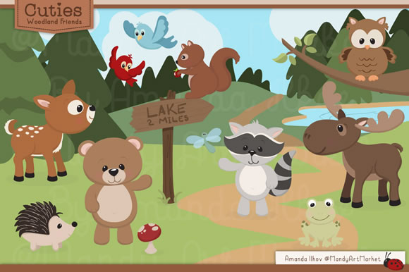 Download Free Set Of Cute Woodland Animals Graphic By Amanda Ilkov Creative for Cricut Explore, Silhouette and other cutting machines.
