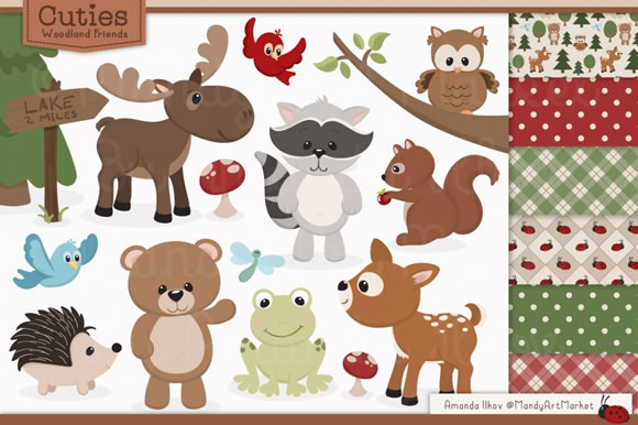 Set of Cute Woodland Animals Graphic By Amanda Ilkov