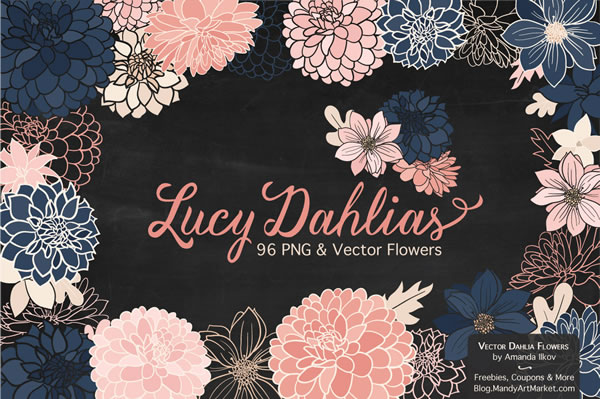 Set of 96 Free Dahlias Graphic By Amanda Ilkov
