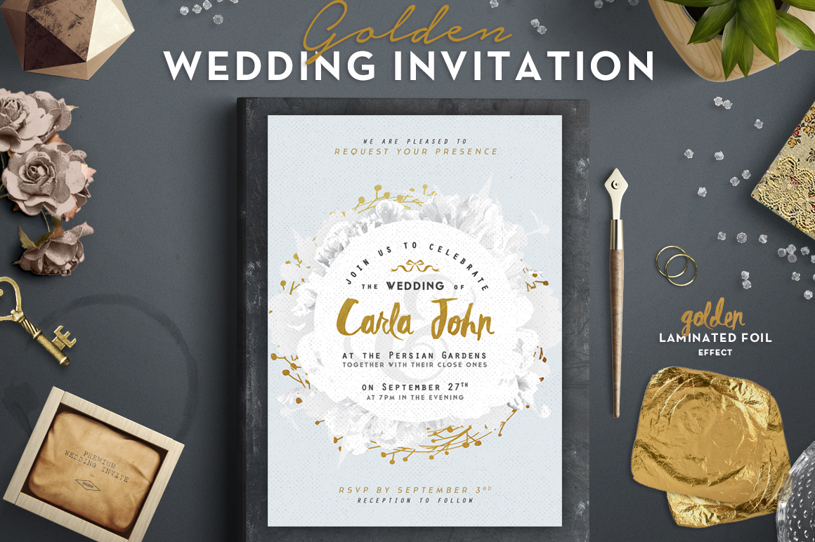 Golden Foil Wedding Invitation I Graphic By lavie1blonde