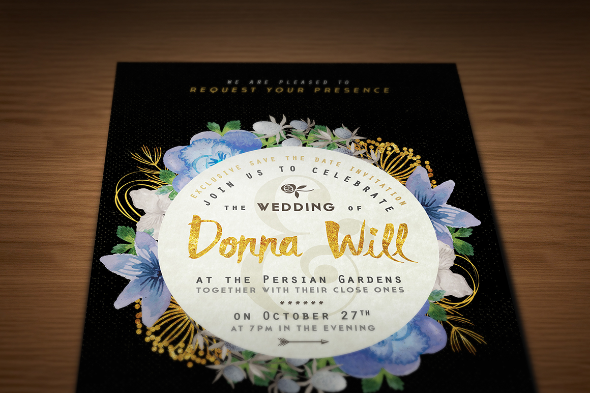 Golden Foil Wedding Invitation III Graphic Print Templates By lavie1blonde - Image 3