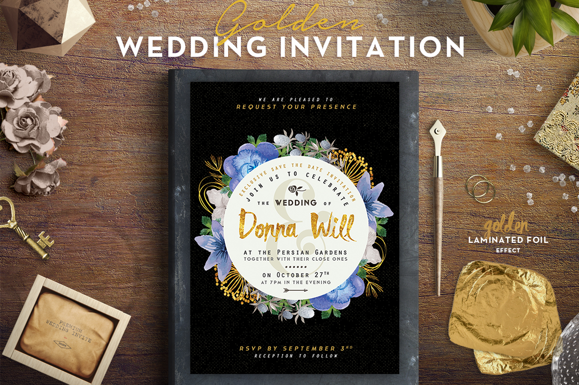 Golden Foil Wedding Invitation III Graphic Print Templates By lavie1blonde - Image 1