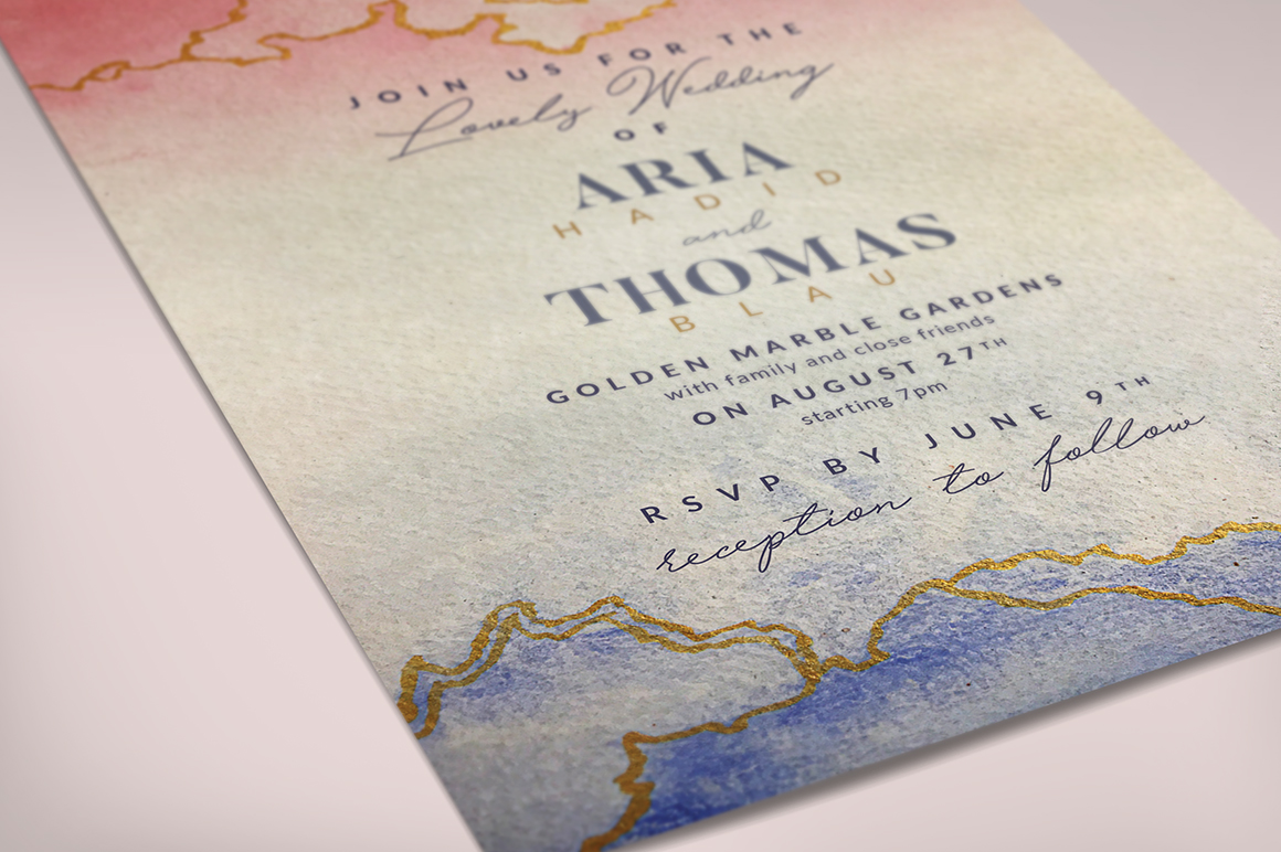 Download Free Golden Marble Wedding Invitation I Graphic By Lavie1blonde for Cricut Explore, Silhouette and other cutting machines.