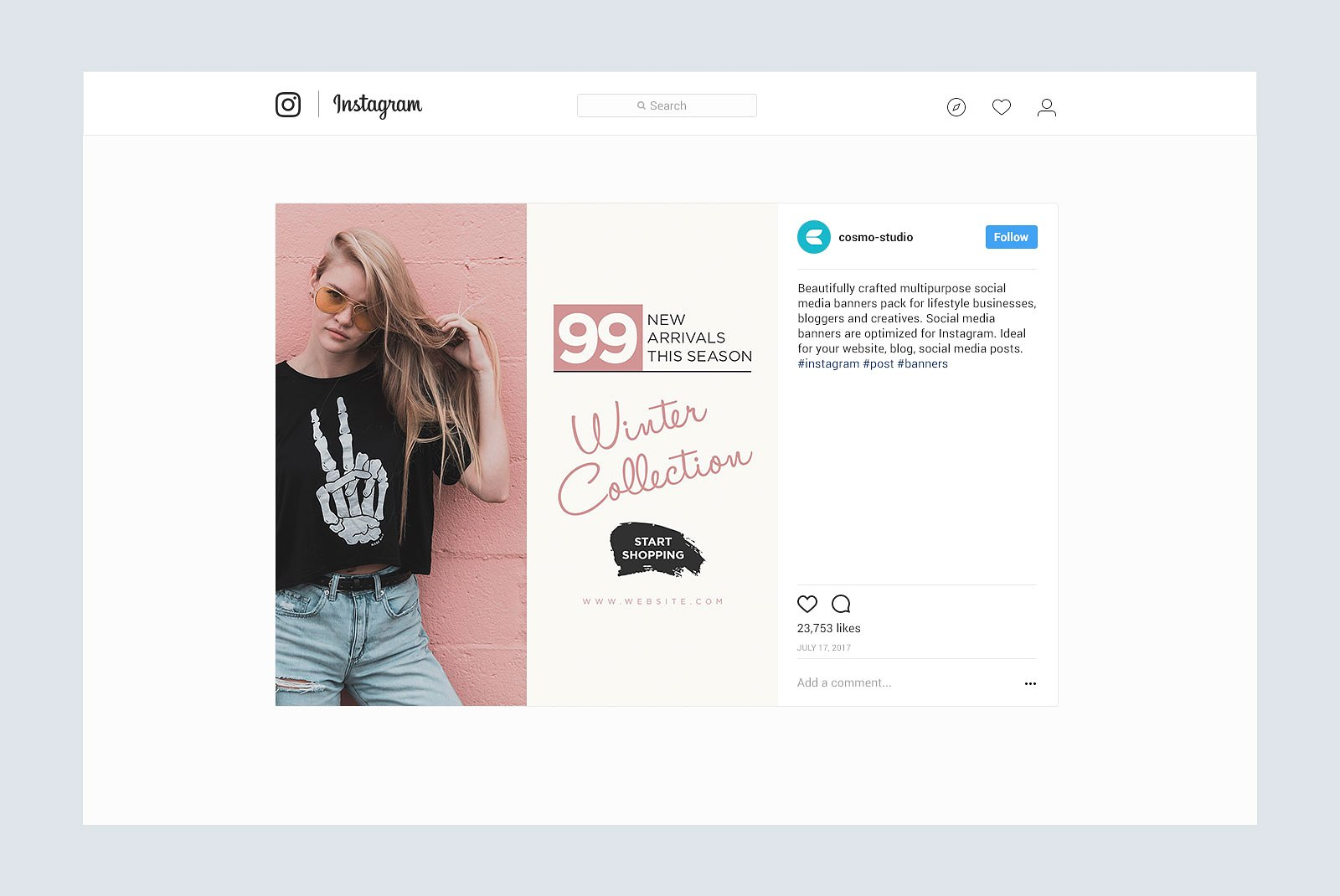 Gravity Instagram Pack Graphic Web Elements By wally6484 - Image 5
