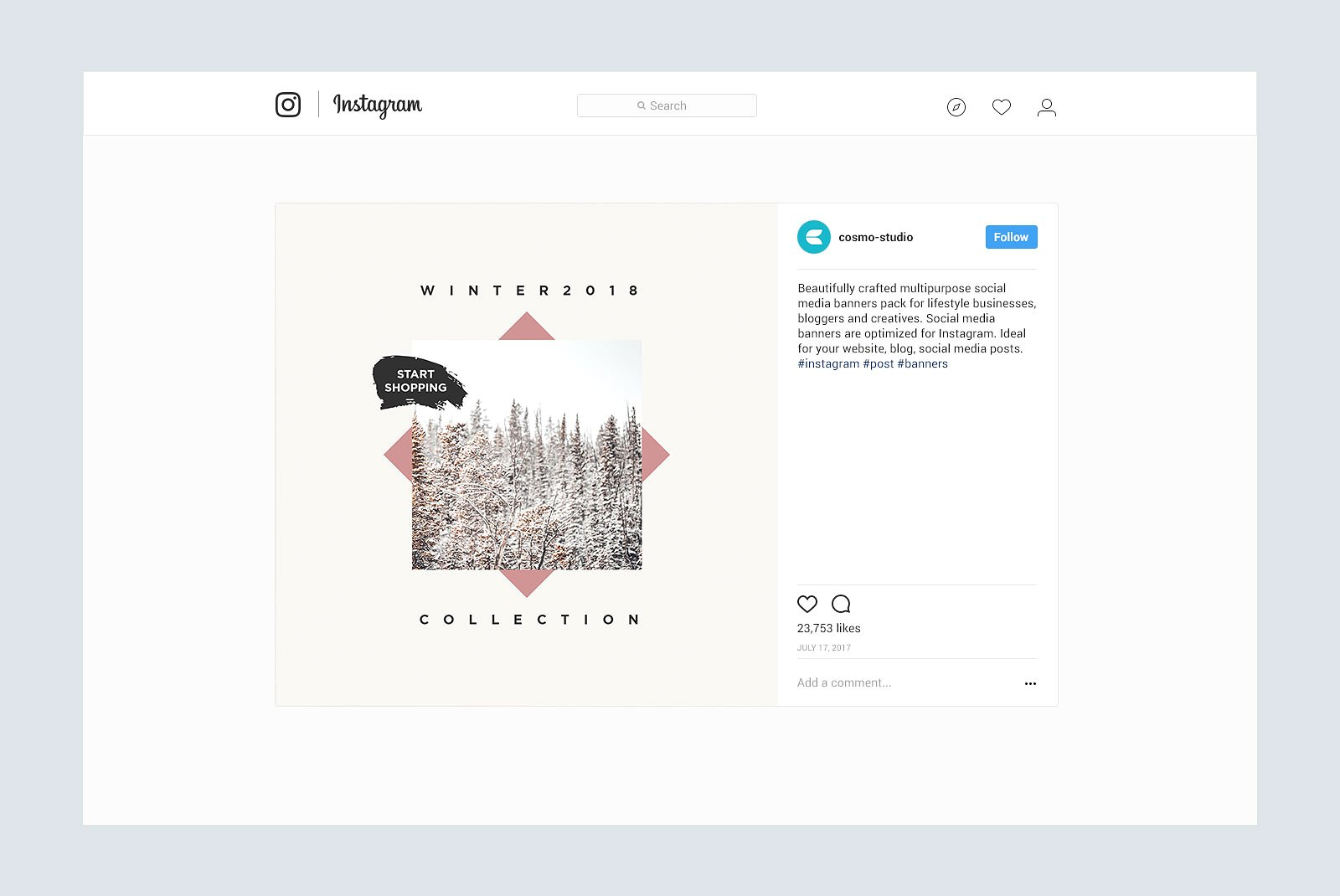 Gravity Instagram Pack Graphic Web Elements By wally6484 - Image 6