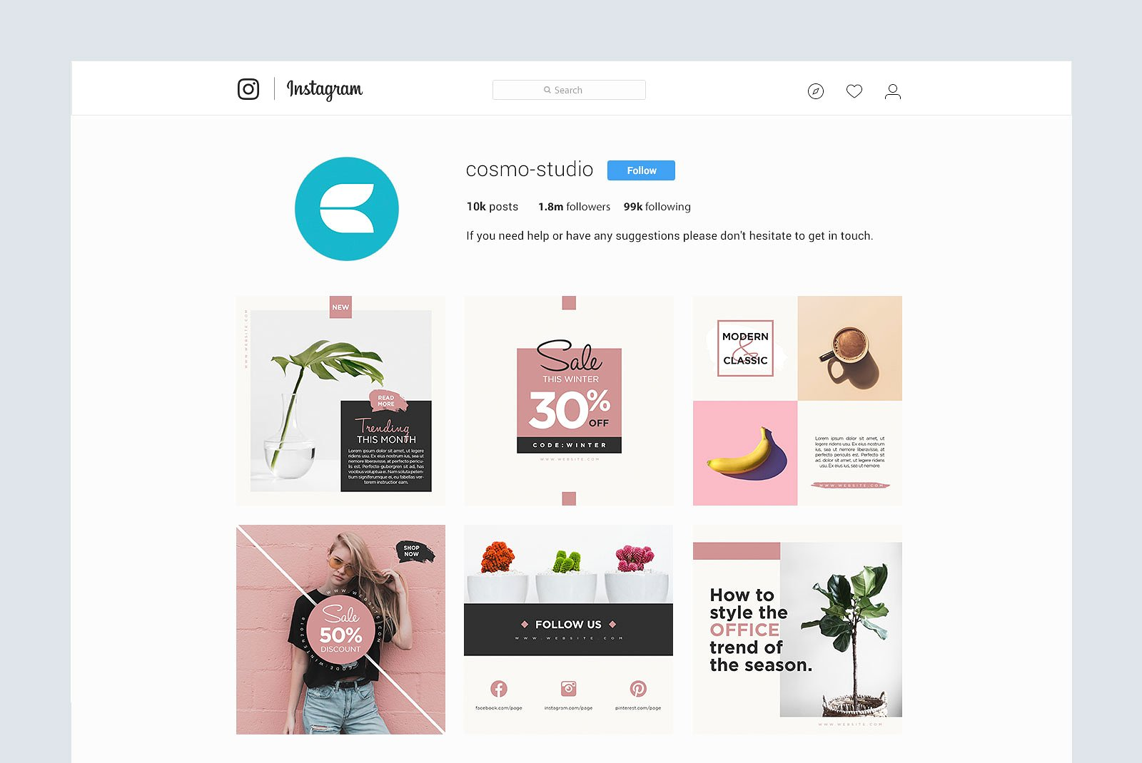 Gravity Instagram Pack Graphic Web Elements By wally6484 - Image 7