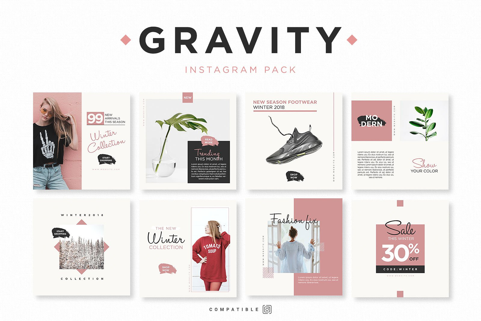 Gravity Instagram Pack Graphic Web Elements By wally6484 - Image 1