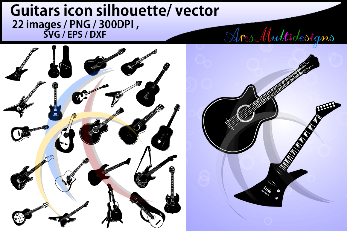 Print on Demand: Guitars Silhouette Gráfico Crafts Por Arcs Multidesigns