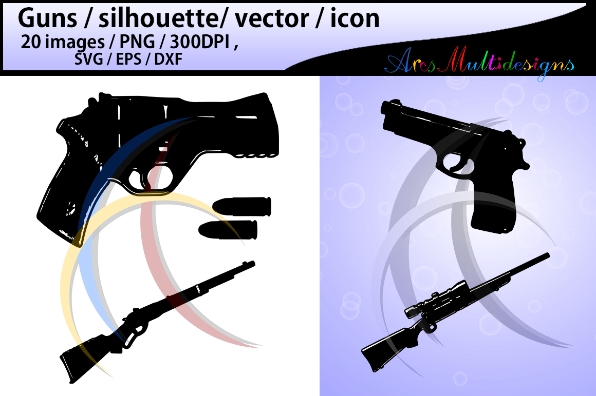 Download Free Gun Silhouette Graphic By Arcs Multidesigns Creative Fabrica for Cricut Explore, Silhouette and other cutting machines.