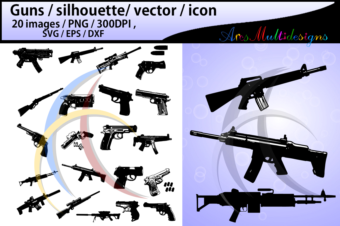 Print on Demand: Gun Silhouette Graphic Illustrations By Arcs Multidesigns