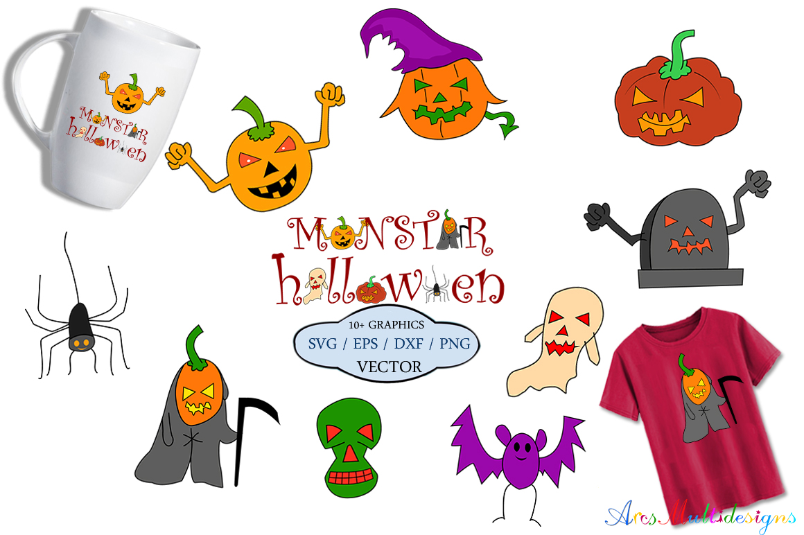 Print on Demand: Halloween Vector Clipart Graphic Crafts By Arcs Multidesigns