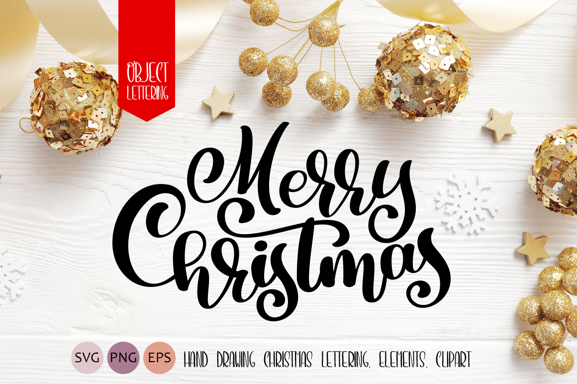 Hand Drawn Christmas Lettering and Doodle Elements Graphic Objects By Happy Letters
