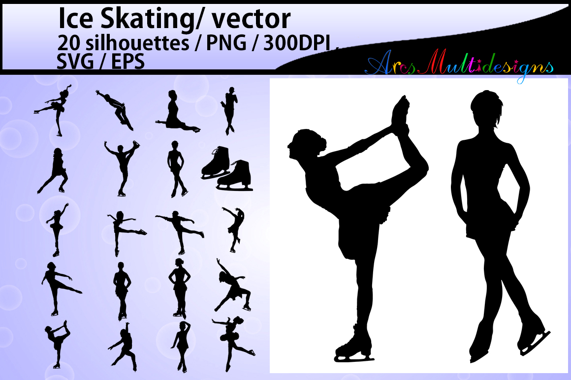 Print on Demand: Ice Skating Silhouette Graphic Illustrations By Arcs Multidesigns - Image 1