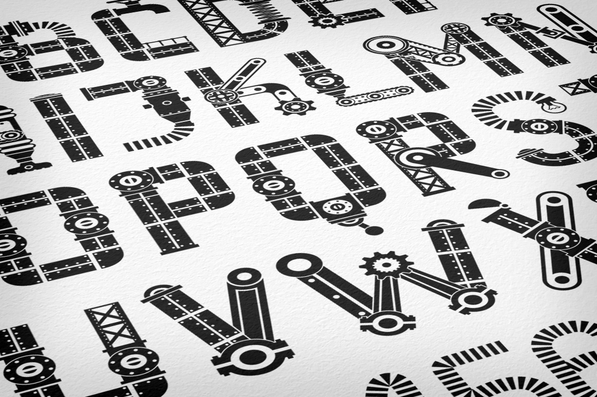 Print on Demand: IndustryMania - Steampunk Font Decorative Font By Agor2012 - Image 2