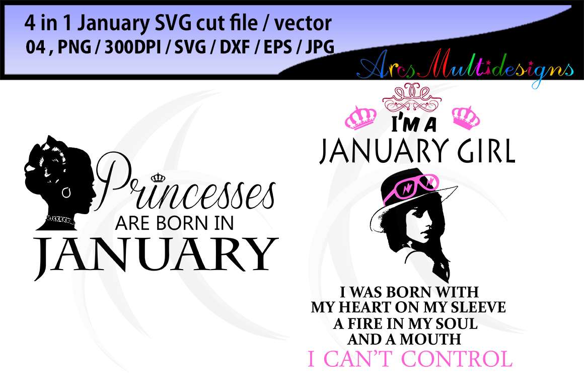Print on Demand: January Girl Bundle Graphic Illustrations By Arcs Multidesigns - Image 2