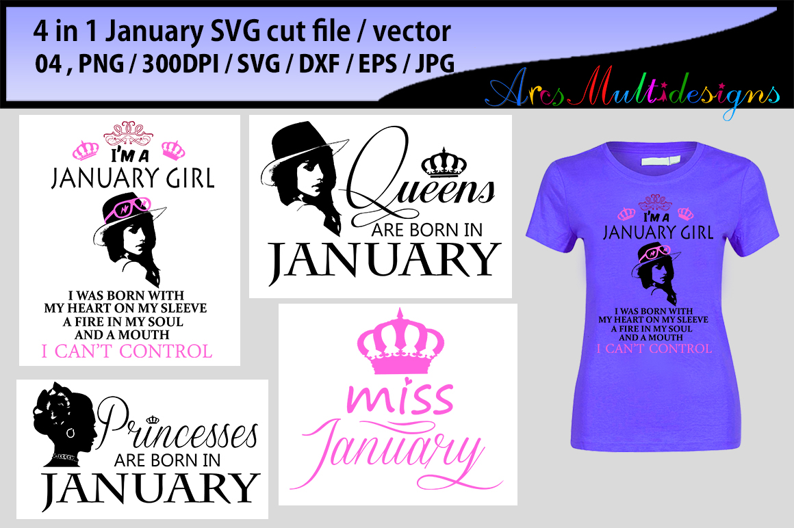 Print on Demand: January Girl Bundle Graphic Illustrations By Arcs Multidesigns - Image 3