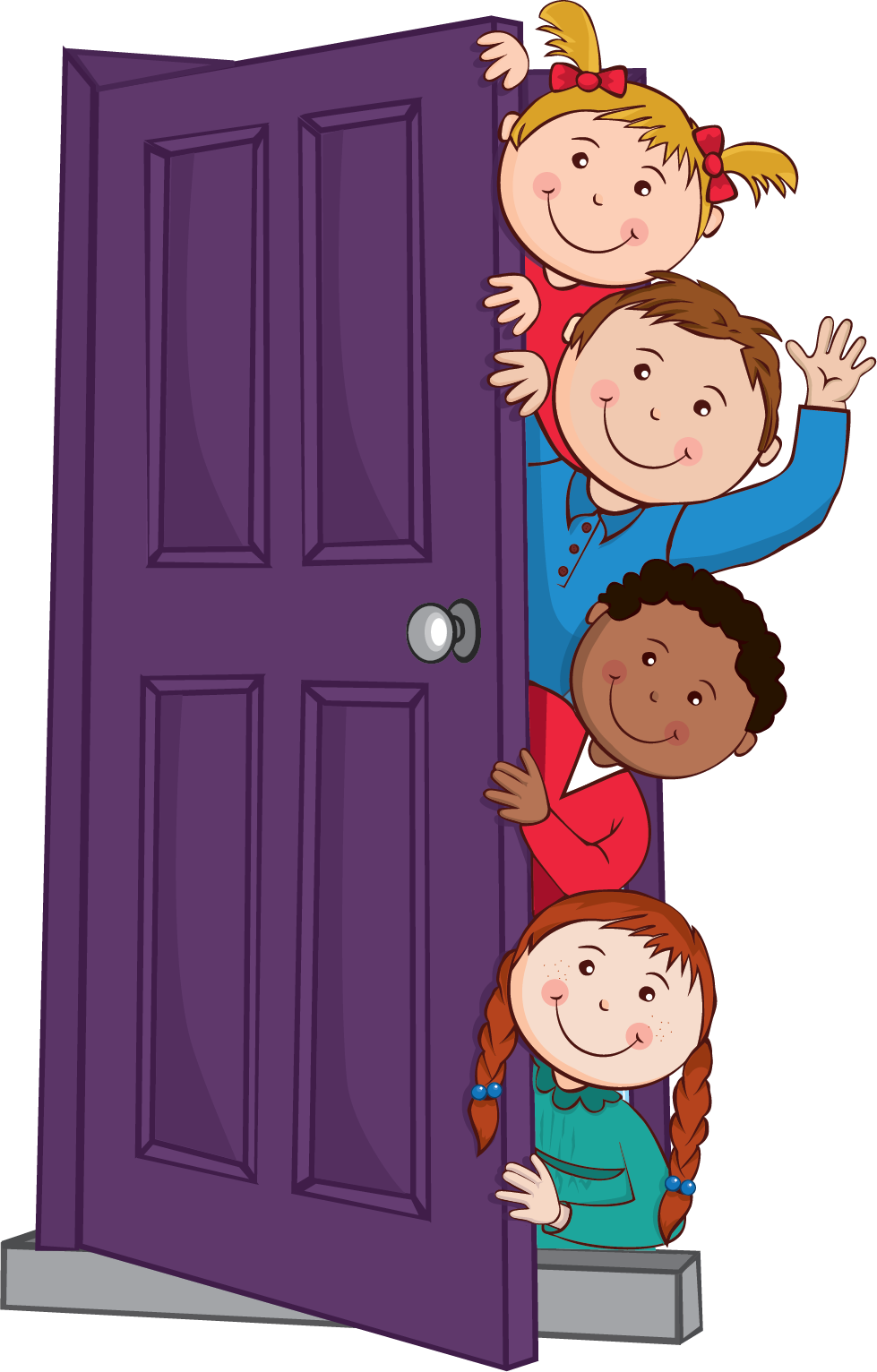 Download Free Kids Peeping Behind Door Graphic By K Vanhorn Creative Fabrica for Cricut Explore, Silhouette and other cutting machines.